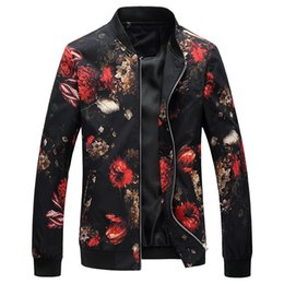 Argentina 2018 Primavera Otoño Bomber Jacket Hombres Floral Impreso Moda Slim Fit Mens Casual Chaquetas de Manga Larga Mens Cazadora Abrigo Masculino cheap xl floral bomber jacket Suministro