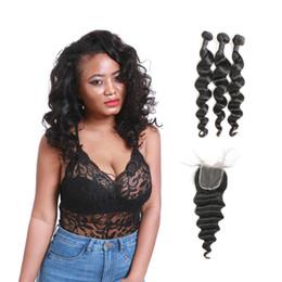 Wholesale wholesale virgin hair for sale - Grade 9A Peruvian Natural Virgin Loose Wave Human Hair Bundles 3 Pcs With Middle Part Lace Closure For Sale