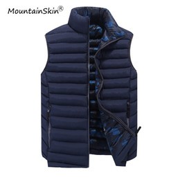 Wholesale Mens Vest Patterns - Mountainskin New Men's Vest Winter Sleeveless Jackets Mens Solid Slim Fit Waistcoats Cotton Stand Collar Outerwears Brand LA551