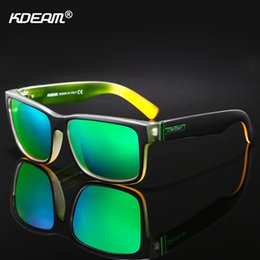 2019 gafas de sol de bloque KDEAM Para Hombres Gafas de Sol Polarizadas Sport Crazy Colors Gafas de Sol Elmore Blocking-UV Shades With Box rebajas gafas de sol de bloque