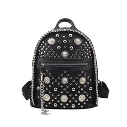 Wholesale Pocket Listings - New Listing Punk Rivet Backpack For Women Fashion Backpack Lion Head College Wind Polyester Bag Tide