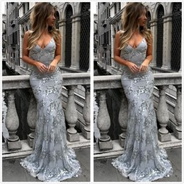 Wholesale long silver cross - 2018 New Halter Sequined Mermaid Long Prom Dresses Backless Cross Back Sweep Train Formal Party Evening Dresses BA7489