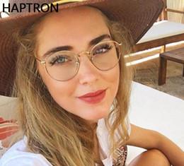 quadros ópticos coloridos atacado Desconto Moda Rodada Armações de Óculos para As Mulheres de Metal Armações Óculos Espetáculo Lente Clara Óptica FemininaMostrar Óculos
