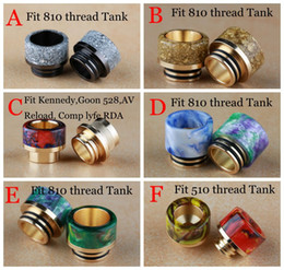 Wholesale Ss Atomizer - 6 Styles 810 Thread Mouthpiece for Gold Plated SS Epoxy Resin Drip Tips Fit TFV8 TFV12 Kennedy 528 RDA 510 Baby Atomizers Tank