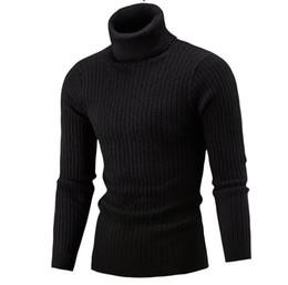 Мужские трикотажные свитера из черепахи онлайн-Mens Classic Knitted Turtle Neck Sweaters Black White Wine Cotton Blend Warm Pullover Man Casual Clothing Free Shipping