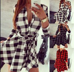 Wholesale Ladies Three Quarter Sleeve Blouses - Fashion Women Grid Shirt Long Sleeve Plaid Check Lady Blouse Bodycon Top Shirt Top Loose Long sleeve Shirt dress LJJK880