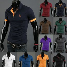 Wholesale Polo V Neck Tees - New 2017 solid polo shirt Mens Casual Tops Tee V Neck Polo Shirts Slim Fit Short Sleeve US M-XXXL 12 Colors Hot summe style