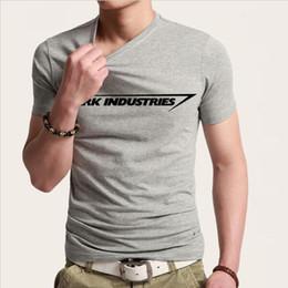 Wholesale Industry Shorts - Stark Industries Tony Stark Iron Man T Shirts Casual Novelty Print T-shirts Short Sleeve Round Neck Brand Tshirts Top Tees