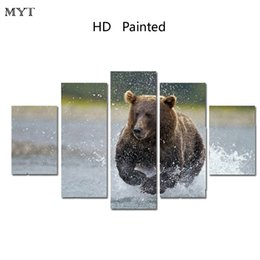 Wholesale river picture - MYT 5 Panel Bear In River Wall Art canvas Painting On Canvas Room Panels For Home Modern Decoration Art Picture Canvas HD Printed No Framed
