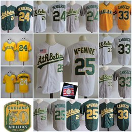 Wholesale m mark - Mens #24 RICKEY HENDERSON 1989 WS Jersey Stitched 25 Mark Mcgwire 33 Jose Canseco 50th Anniversary Patch baseball Jerseys S-3XL