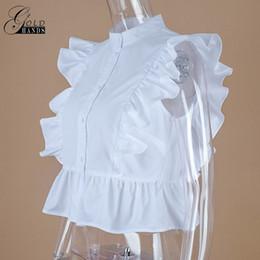 Wholesale Tunic Tops Ruffles - Gold Hands Summer Sleeveless White Tunic Blouses Women Ruffled Button Down Crop Tops Female Ladies Office Fashion Short Shirts