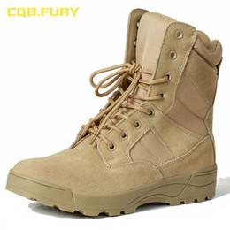 mens tobillo botas correas Rebajas CQB.FURY cuero para hombre desierto botas de ante de vaca otoño arena ejército de combate botas con cremallera correa de tobillo sólida bota táctica
