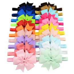 "Wholesale ribbon baby headbands - 4.33"" Baby Infant big Bow Headbands Grosgrain Ribbon Boutique Bows Headbands Girls Elastic Hairbands Hair Accessories Baby Headwear KHA450"