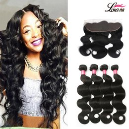 Wholesale Human Body Ears - Mink 8a Brazilian Body Wave 3Bundles With Ear to Ear Frontal Brazialin Virgin Human Hair With Lace Frontal Brazialin Hair With 4x13 closure