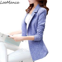 Wholesale Korean Women Blazers - 2018 New Fashion Women Blazers and Jackets Korean Style Female Long Blaser Coat Femme plus size work wear Suit