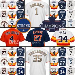 Wholesale Man Program - Houston 27 Jose Altuve 35 Justin Verlander Jersey 4 George Springer 1 Carlos Correa 2018 Gold Program 34 Nolan Ryan Baseball Jerseys