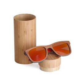 Espejo enmarcado de bambú online-Gafas de sol de madera del monopatín marco marrón con el espejo de capa de las gafas de sol de bambú UV 400 lentes de protección oculos de sol feminino Dropshipping