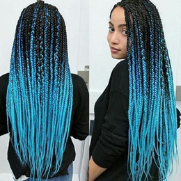 wholesale synthetic blue color braids Promo Codes - Wholesale Ombre Sky Blue Braided Hair Kanekalon Jumbo Twist Braiding Hair Synthetic Crochet Braids Hair Extension Folded 24 Inch 100g