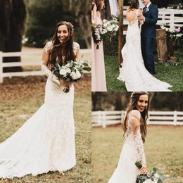 Wholesale Dress Shirts For Weddings - 2018 New Vintage Western Bohemian Lace Wedding Dresses Sheer Long Sleeves Open Back Beach Bridal Gowns for Garden Country