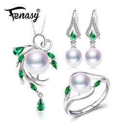 2019 natürliche perlenschmucksachen FENASY 925 Sterling Silber Schmuck-Sets für Frauen, Smaragd Tropfen Ohrringe, natürliche Perle Anhänger Halsketten Verlobungsring Set günstig natürliche perlenschmucksachen