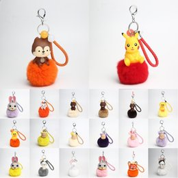 Wholesale Lucky Coin Charms - High-Grade Pendant Handbag Charm Cartoon Key Ring Rabbit Cat Fur Ball PomPom For Phone Car Bag Lucky Keychain D540S