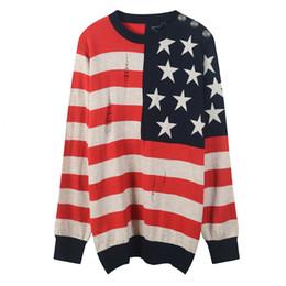 2018 Vermelho / Preto Listrado da bandeira Americana Bordado Pulôver Mulheres Marca Mesmo Estilo Camisolas de Tricô das Mulheres Pista Estilo Suéteres DH081446 de