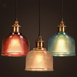 Wholesale coloured light pendants - 5 Colours Vintage glass Pendant Lights Retro Pendant Lamps With Edison Bulbs 110V 220V Hanglamp Lamparas Colgantes Lustre Lights