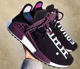 Wholesale Silver Multi - Hu Trail Equality Jogging Running Shoes, Hu Black Canvas ,Pharrell x Hu. Trail Holi Human Race Running Shoes,Training Sneakers
