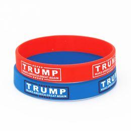 2019 pendentif ovale plaqué or en gros 50 PCS Make America Great Again Bracelet En Silicone Rouge Bleu Caoutchouc Power Bracelet De Mode Bijoux Trump Soutien Bande Cadeau SH177