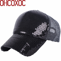 women new summer cap sequin hat solid black silver gold color bling design  mesh cool style outdoor female girl baseball caps 5b54f0f88422