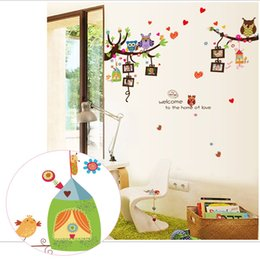 Wholesale Modern Nursery Pictures - Owls Picture Frame Tree Wall Stickers Kids Room Nursery Bedroom Wall Mural Poster Art Welcome to the love Home Wall Quote Decals Graphic
