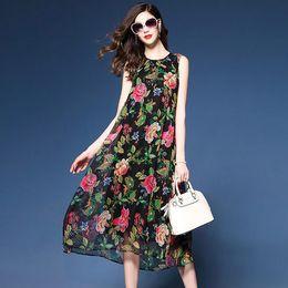 Fiori di seta rossi grandi online-black silk floral dress summer dresses maxi beach robe femme ete 2018 sexy long boho bohemian large plus size red flower loose