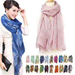 Wholesale Voile Sale - Hot Sale 20 Style Winter Scarf Women Cotton Linen Voile Floral Pattern Thin Scarfs Vintage Shawl Scarves Sjaal Bufandas Foulard