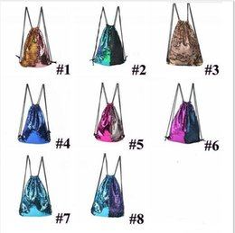 Wholesale Medium Drawstring Bags - New Hot Sale Mermaid Sequined Sports Bag Backpack Sequins Drawstring Bags Reversible Paillette Outdoor Backpack Shoulder Bags Travel Bag