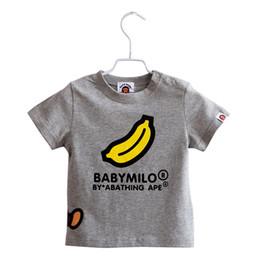 Wholesale Red Bananas - Luxury Logo Letter Children's T-shirts Summer Shorts Sleeves Monkey Banana Little Girl's Tops Red White Boys Tees