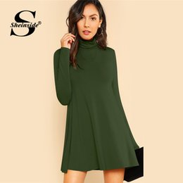 1eae4429fd49 Sheinside Green High Neck Flowy Mini Dress Women Long Sleeve Fit and Flare  Dresses 2018 Clothes Ladies Casual Autumn Dress