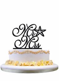 Wholesale beach cake toppers - Meijiafei Cursive Mr and Mrs Starfish Beach Nautical Wedding Cake Topper