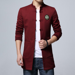 17a7afc49e1 Chinese Style Mens Long Coats Autumn New Men Jackets Pure Color Single-breasted  Embroidered Jacket S-4XL