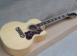 """voando guitarra branca Desconto Natural madeira cor 43 """"violão com afinadores de ouro, Rosewood Fretboard, Pickguard de flor vermelha, osso sela e porca"""