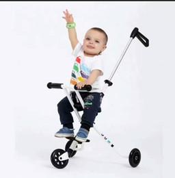2019 scooter per bambini LK710 Tre ruote in PU Bambini Kick Scooter Pieghevole in acciaio Piede Scooter Bianco Passeggino per 0-3 anni 30kg Cuscinetto scooter per bambini economici