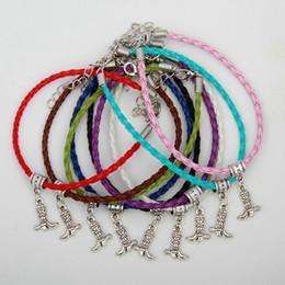 Calzado de vaquero online-Caliente 50 Unids Aleación de Plata Antigua Botas de Vaquero Calzado Colgante con Encanto 20 + 5 cm Pulsera de Cuerda Tejida de Cuero Multicolor Mujer Joyería Regalos