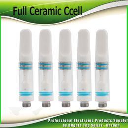 Wholesale full tips - Full Ceramic Cartridge 0.5ml Vaporizer Ceramic Tube Drip Tip 510 Thread Atomizer Thick Coil Tank For Preheat Battery In Stock