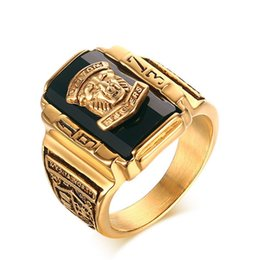 Wholesale gold bezel ring - Walton Tigers Head Ring Men Vintage Gold Color Stainless Steel with Black Red Stone for 1973 Army General Soldier Memorial Souvenir Jewelry