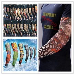 Wholesale Elbow Cuffs - 2018 hot Outdoor prevented bask in 3D seamless tattoo sleeves simulation big flower tattoo cuff arm cuff Cycling equipment sunscreen anti UV