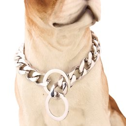 Collar de collares de cadena de 15 mm de alta calidad para mascotas perro collar 12-34 pulgadas de acero inoxidable color plata VICHOK desde fabricantes