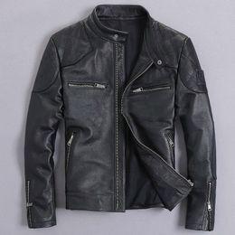 bandiera scamosciata Sconti Vera pelle maschile abbigliamento in pelle moto abbigliamento giacca di pelle slim stand collo corto design