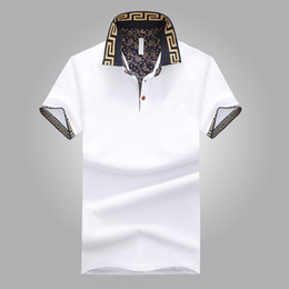 Wholesale Polo Shirt Gray - Hot Sales Polo Shirt Luxury Design Male Summer Turn-Down Collar Short Sleeves Cotton Shirt Men Top