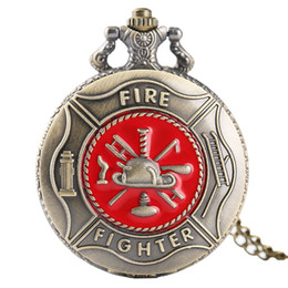 Wholesale Wholesale Firefighter Gifts - Pocket Watch Fire Fighter Red Pattern Full Hunter Bronze Quartz Watches Antique Unique Firefighter Men Women Gift With Bag 2017