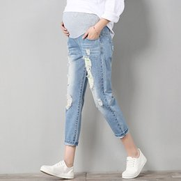 38e7296e5431 Maternity Pants For Pregnant Women Pregnancy Embarazada Denim Jeans Spring  Hole Trousers Belly Capris Legging Clothing Overalls