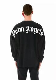 moda masculina casual vestuário Desconto 2018SS Palm Angels Carta impressão Homens Mulheres Pulôveres Hoodies Hip Hop Anjos Da Palma Da Forma Roupas Top Camisolas 3 cores S-XXL